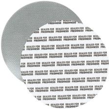 """70mm Foil Pressure Sensitive Liner, """"Sealed for Freshness"""" in Black (Uni-Foam™ PS-F1)"""