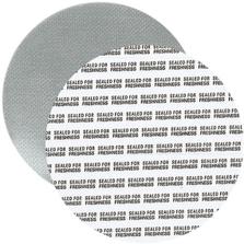 """89mm Foil Pressure Sensitive Liner, """"Sealed for Freshness"""" in Black (Uni-Foam™ PS-F1)"""