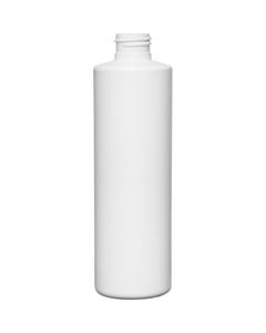 8 oz. White HDPE Plastic Cylinder Bottle, 24mm 24-410, 21 Grams