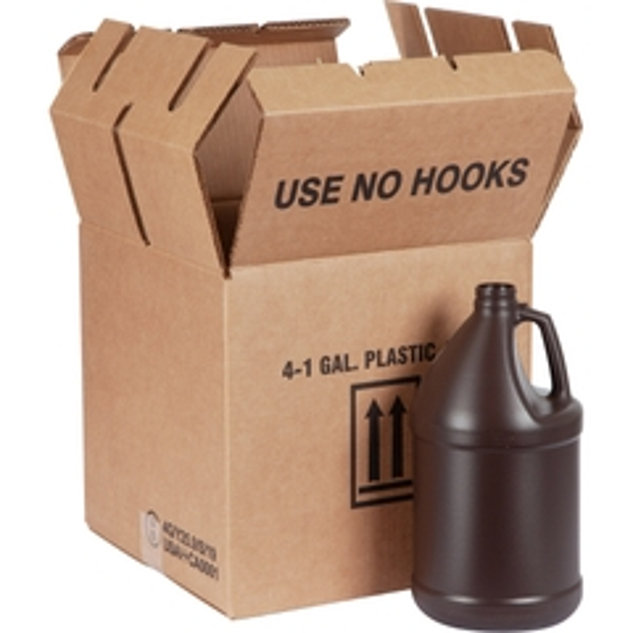 1 Gallon Amber HDPE Plastic Round Jug, 38mm 38-400, UN Rated, 4x1 Reshipper Box