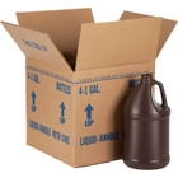 1 Gallon Amber HDPE Plastic Round Jug, 38mm 38-400, 4x1 Reshipper Box