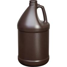 1 Gallon Amber HDPE Plastic Round Jug, 38mm 38-400