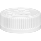 38mm 38-400 White Child Resistant Cap (Pictorial) w/HIS Liner for PP & PE, 2-Piece, Tamper Indicating, Printed