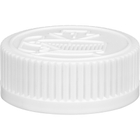 38mm 38-400 White Child Resistant Cap (Pictorial) w/Universal HIS Liner, 1-Piece, Tamper Indicating
