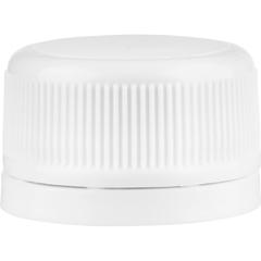 28mm Drop-Lok® White Ribbed Plastic Cap w/Foam Liner (3-ply)