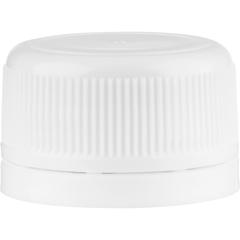 28mm Drop-Lok® White Ribbed Plastic Cap