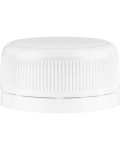 33mm Drop-Lok® White Ribbed Plastic Cap w/Foam Liner (3-ply)