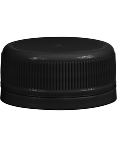 38mm Drop-Lok® Black Ribbed Plastic Cap w/Foam Liner (3-ply)
