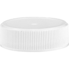 33mm 33-400 White Ribbed (Matte Top) Plastic Cap w/HIS for HDPE