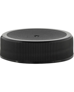 38mm 38-400 Black Ribbed (Matte Top) Plastic Cap w/HIS for HDPE