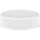 38mm 38-400 White Ribbed (Matte Top) Plastic Cap w/HIS for PET/PVC