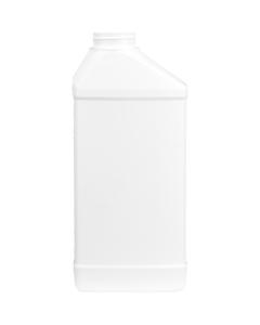 40 oz. White HDPE Plastic Offest Neck Bottle, 45mm 45-400