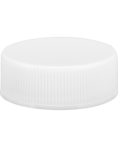 28mm 28-400 White Ribbed (Smooth Top) Plastic Cap w/HIS Liner for PET/PVC