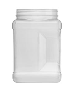 64 oz. Natural HDPE Plastic Square Pinch Grip Jar, 110mm 110-400