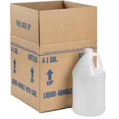 1 Gallon Natural HDPE Plastic Round Jug, 38mm 38-400, 120 Grams, 4x1 Reshipper Carton