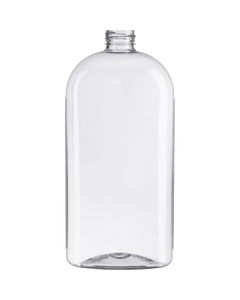 20 oz. Clear PET Plastic Ribbed Oval Bottle, 28mm 28-410