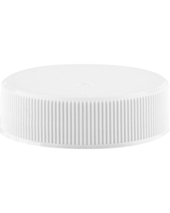 38mm 38-400 White Ribbed (Matte Top) Plastic Cap w/F217 & Pressure Sensitive Liner