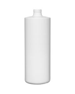 32 oz. White HDPE Plastic Cylinder Bottle, 28mm 28-410, 55 Grams