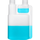 8 oz. Natural HDPE Plastic Bettix Twin Neck Bottle with 1/2 oz. Dosage Chamber, 24mm 24-410