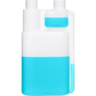 16 oz. Natural HDPE Plastic Bettix Twin Neck Bottle with 1 oz. Dosage Chamber, 28mm 28-410