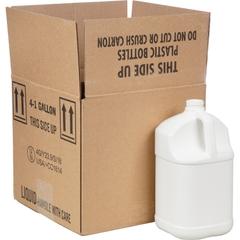 1 Gallon White HDPE Plastic Square Jug, 38mm 38-400, UN Rated, 120 Grams, 4x1 Reshipper Box