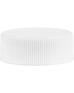 28mm 28-400 White Ribbed (Matte Top) Vented Plastic Cap w/HIS Liner for PET/PVC
