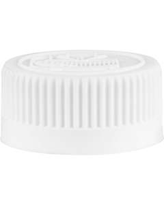 28mm 28-400 White Child Resistant Vented Plastic Cap w/HIS Liner for PET/PVC
