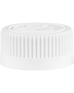 28mm 28-400 White Child Resistant Vented Plastic Cap w/Foam Liner (3-Ply)