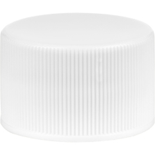 28mm 28-410 White Ribbed (Smooth Top) Vented Plastic Cap w/HIS Liner for PET/PVC