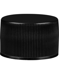 28mm 28-410 Black Ribbed (Smooth Top) Vented Plastic Cap w/HIS Liner for PET/PVC