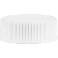 28mm 28-400 White Ribbed (Smooth Top) Vented Plastic Cap w/Dual Liner (3-Ply Foam & HIS for PVC/PET)