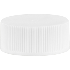 24mm 24-400 White Ribbed (Matte Top) Vented Plastic Cap w/Dual Liner (3-Ply Foam & HIS for PVC/PET)