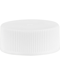 24mm 24-400 White Ribbed (Matte Top) Vented Plastic Cap w/Foam Liner (3-Ply)