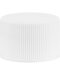 24mm 24-410 White Ribbed (Matte Top) Vented Plastic Cap w/Dual Liner (3-Ply Foam & HIS for PE)