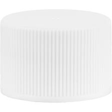 24mm 24-410 White Ribbed (Matte Top) Vented Plastic Cap w/Dual Liner (3-Ply Foam & HIS for PET/PVC)