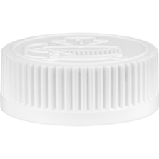 38mm 38-400 White Child Resistant Vented Plastic Cap w/Dual Liner (3-Ply Foam & HIS for PE)