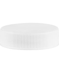 38mm 38-400 White Ribbed (Matte Top) Vented Plastic Cap w/Dual Liner (3-Ply Foam & HIS for PET/PVC)