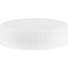 38mm 38-400 White Ribbed (Matte Top) Vented Plastic Cap w/2-Piece HIS Liner for PE