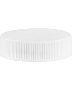 38mm 38-400 White Ribbed (Matte Top) Vented Plastic Cap w/1-Piece HIS Liner for PE