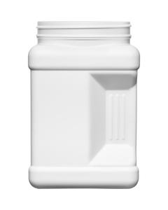 64 oz. White HDPE Plastic Square Pinch Grip Jar, 110mm 110-400
