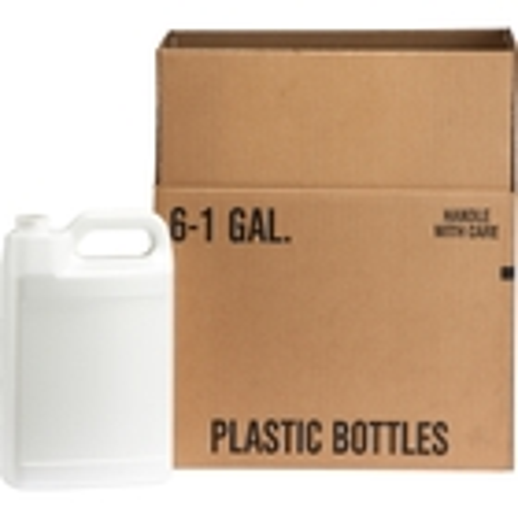 1 Gallon White HDPE Plastic F Style Bottle, 38mm 38-400, 6x1