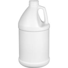 1/2 Gallon White HDPE Plastic Round Jug, 38mm 38-400
