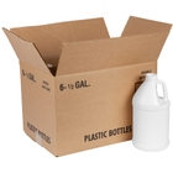 1/2 Gallon White HDPE Plastic Round Jug, 38mm 38-400, 6x1 Reshipper Box