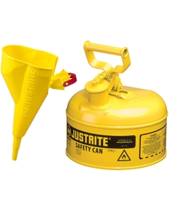 1 Gallon, Type I Safety Can w/Self-Close Lid for Flammables, Yellow, Funnel