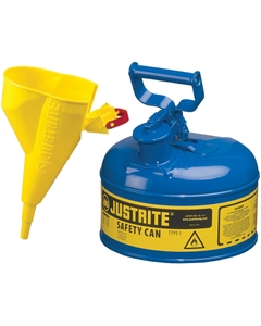 1 Gallon, Type I Safety Can w/Self-Close Lid for Flammables, Blue, Funnel