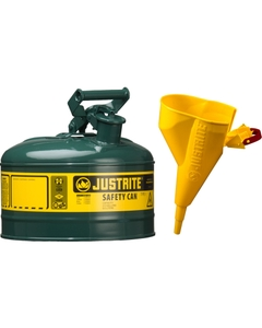 1 Gallon, Type I Safety Can w/Self-Close Lid for Flammables, Green, Funnel