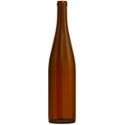 750 ml Amber Stretch Hock Wine Bottles, Cork 12/cs