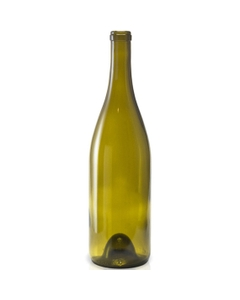 750 ml Antique Green Heavy Burgundy Wine Bottles, Punted, Cork, 12/cs