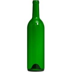 750 ml Champagne Green Bordeaux Wine Bottles, Punted Bottom, Cork, 12/cs