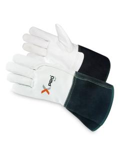 Black/White Goatskin Welding Work Gloves w/Cuff, Cut Resistant